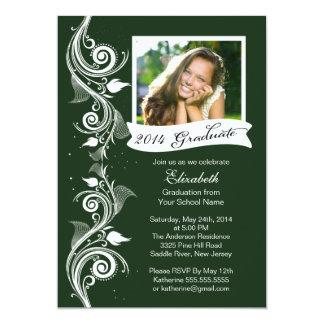Elegant Green Photo Graduation Party Invitation