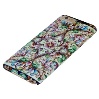 ELEGANT GREEN PINK FLORAL FANTASY BARELY THERE iPhone 6 PLUS CASE