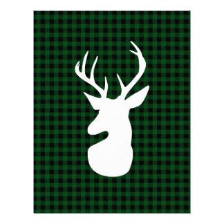 Elegant Green Plaid Deer Design Letterhead