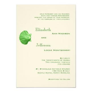 Elegant Green Rattan Seashell Wedding Invitation