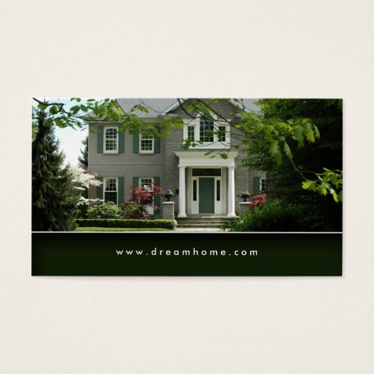 Elegant Green Real Estate House Business Card