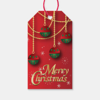 Elegant Green, Red and Gold Christmas Pack Of Gift Tags