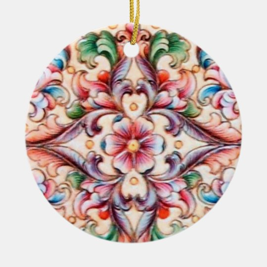 ELEGANT GREEN RED PINK BLUE FLORAL FANTASY CERAMIC ORNAMENT