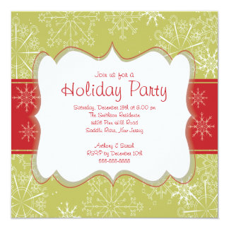 Elegant Green & Red Snowflakes Holiday Party 5.25x5.25 Square Paper Invitation Card