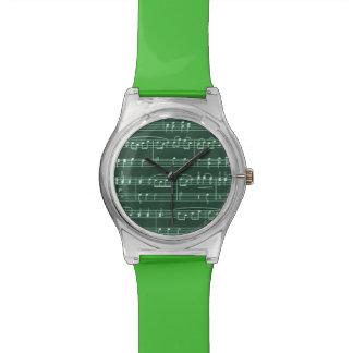 elegant green sheet music wrist watch