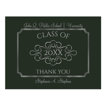 Beach Themed Elegant Green Silver College Graduation Thank You Postcard