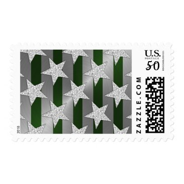 Professional Business Elegant Green Stripes and Silver Stars Postage