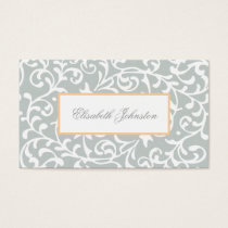 Elegant Green Swirls Damask Feminine Floral Business Card
