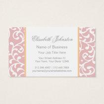 Elegant Green Swirls Damask Pink Feminine Floral Business Card