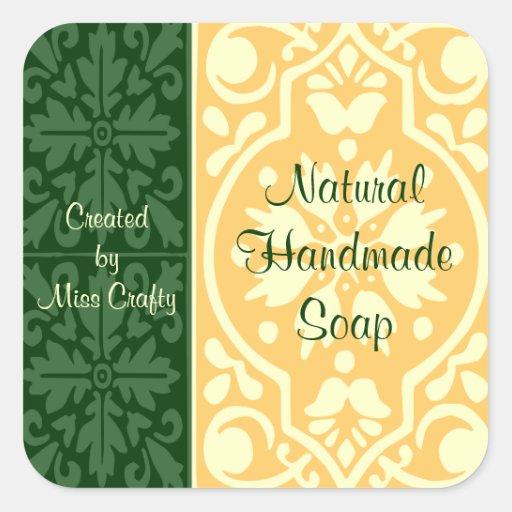 Elegant Green Tan Custom Craft Labels Square Sticker