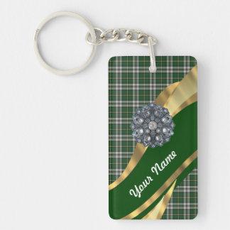 Elegant Green tartan Double-Sided Rectangular Acrylic Keychain