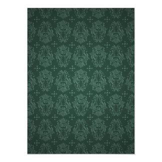 Elegant Green Victorian Damask Vintage Style Card