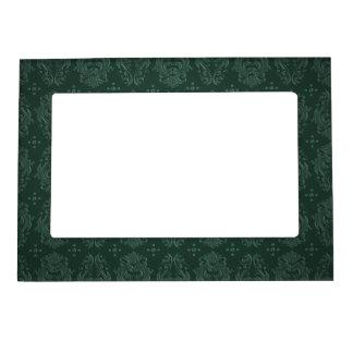 Elegant Green Victorian Damask Vintage Style Magnetic Frame