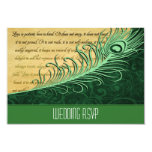 Elegant Green Vintage Peacock Wedding RSVP Cards Personalized Announcement