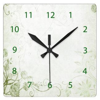 Elegant Green Vintage Square Wall Clocks