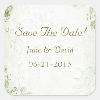 Elegant Green Vintage Wedding Save The Date Square Sticker