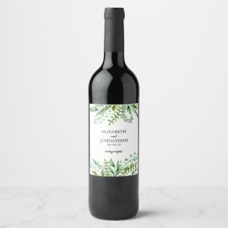Elegant Green Watercolor Botanical Wedding Wine Label