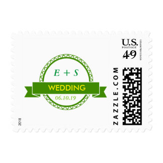 Elegant Green Wedding Postage