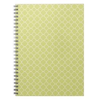 Elegant Green White Quatrefoil Pattern Design Spiral Note Book