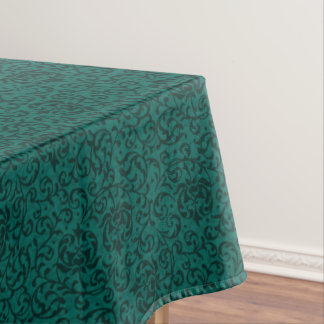 Elegant Green William Morris Style Floral Damask Tablecloth