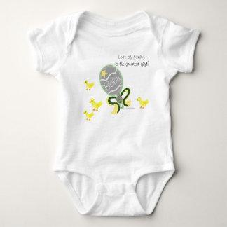 Elegant Green Yellow Baby Rattle Hospital Name Baby Bodysuit