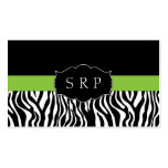 Elegant Green Zebra Monogram Business Cards