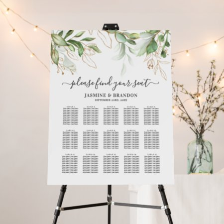 Elegant Greenery 15 Table Wedding Seating Chart Foam Board