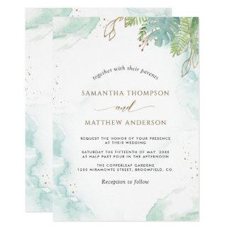 Elegant Greenery and Watercolor Wedding Invitation