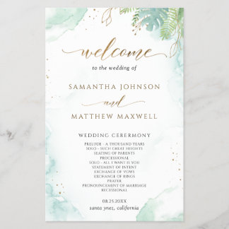 Elegant Greenery and Watercolor Wedding Program