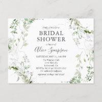 Elegant Greenery Bridal Shower Invitation Postcard