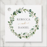 """Elegant Greenery Geometric Frame Personalized Favor Tags<br><div class=""""desc"""">Designed to coordinate with our Moody Greenery wedding collection,  this customizable favor tag features sage green eucalyptus watercolor foliage accented with a gold geometric frame. To make advanced changes,  go to """"Click to customize further"""" option under Personalize this template.</div>"""
