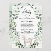 Elegant Greenery Gold Baby Lamb Virtual Shower Invitation