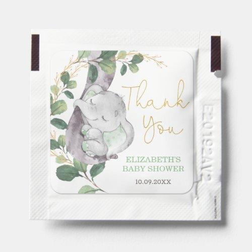 Elegant Greenery Gold Elephant Baby Shower Favors Hand Sanitizer Packet