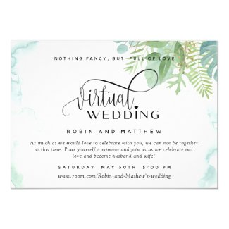 Elegant Greenery Watercolor Online Virtual Wedding Invitation