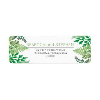 Elegant Greenery | Wild Ferns Wedding Label