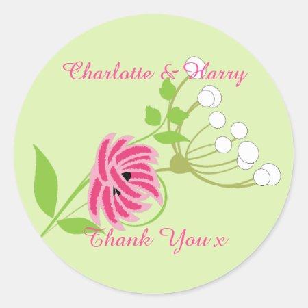 Elegant Greenery Wild Flowers Pink Green Classic Round Sticker