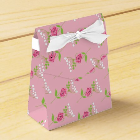 Elegant Greenery Wild Flowers Pink Green Editable Favor Box