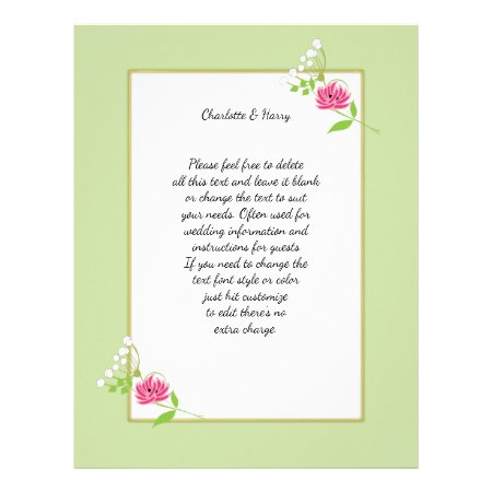 Elegant Greenery Wild Flowers Pink Green Letterhead
