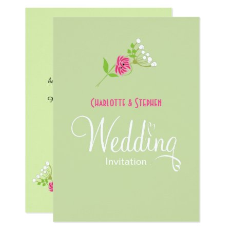 Elegant Greenery Wild Flowers Wedding Script Card
