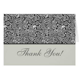 Elegant Grey and Black Floral Damask Card
