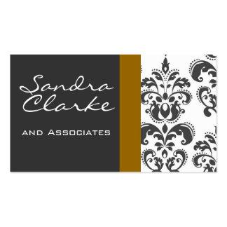 Elegant Grey and Gold Damask Pattern Business Card