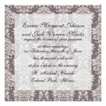 elegant grey and ivory ornate damask pattern custom invitations