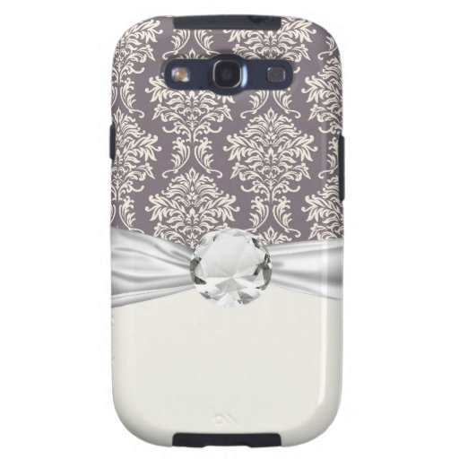 elegant grey and ivory ornate damask pattern samsung galaxy s3 cover