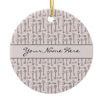 Elegant Grey and Pink Vintage Keys Ceramic Ornament