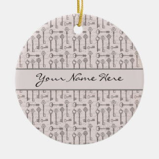 Elegant Grey and Pink Vintage Keys Ceramic Ornament