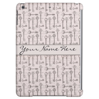 Elegant Grey and Pink Vintage Keys iPad Air Cases