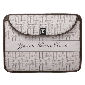 Elegant Grey and Pink Vintage Keys MacBook Pro Sleeve