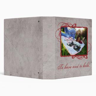 Elegant Grey and Red Vintage Photo Vinyl Binder