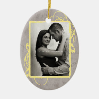 Elegant Grey and Red Vintage Photo Ceramic Ornament