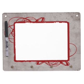 Elegant Grey and Red Vintage Photo Dry Erase Board With Keychain Holder
